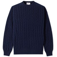 Jamiesons Of Shetland Jamieson's Cable Crew Knit Blue