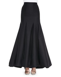Halston Long Pleated Trumpet Skirt Black