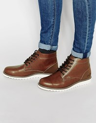 Pull And Bear Pullandbear Boots In Leather With Contrast Sole Brown