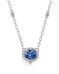 Judith Ripka Sterling Silver La Petite Oval Pendant Necklace With Lab Created Blue Corundum 17 Blue Silver