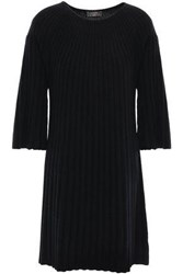 N.Peal Woman Ribbed Cashmere Tunic Black