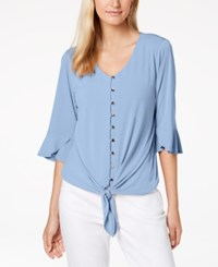Ny Collection Petite Tie Hem Bell Sleeve Top Pool
