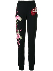 Philipp Plein Flower Patch Sweatpants Cotton Polyester Spandex Elastane Glass Black