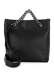 Kendall Kylie Van Leather Chain Shopper Tote Black