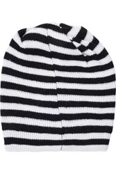 Marc By Marc Jacobs Striped Merino Wool Beanie Black