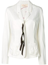 Romeo Gigli Vintage Lace Up Fitted Blazer White