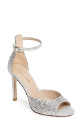 Pelle Moda Women's Crystal Embellished Ankle Strap Sandal Silver Leather
