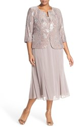 Plus Size Women's Alex Evenings Sequin Mock Two Piece Dress With Jacket Pewter Frost
