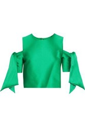 Milly Woman Cropped Off The Shoulder Duchesse Satin Top Green