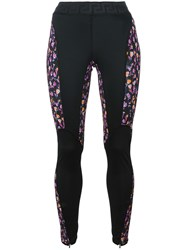 Versace Flower Thrift Paneled Leggings Black