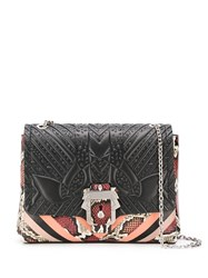Paula Cademartori Snake Print Striped Shoulder Bag Black
