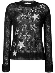 Faith Connexion Rhinestone Star Knit Jumper Black