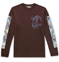 Acne Studios Jaceye Printed Cotton Jersey T Shirt Brown
