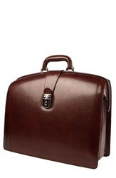 Men's Bosca Triple Compartment Leather Briefcase Brown