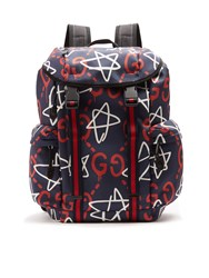 Gucci Ghost Print Canvas Backpack Blue Multi