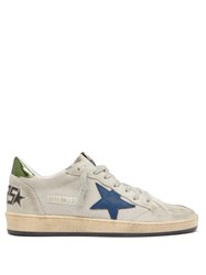 Golden Goose Ball Star Distressed Suede Trainers Silver Multi