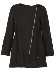 Izabel London Elegant Hooded Lightweight Parka Black