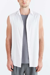 Shades Of Grey By Micah Cohen Sleeveless Raw Edge Button Down Shirt White