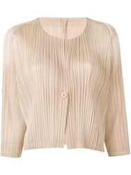 Issey Miyake Pleats Please By Cropped Pleated Jacket Neutrals