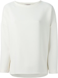 Alberto Biani Side Slits Long Sleeve Top Nude And Neutrals