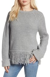Moon River Women's Fringe Hem Sweater Grey Marl