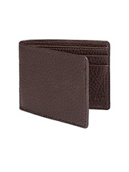 Saks Fifth Avenue Black Pebble Grain Leather Billfold Wallet Brown