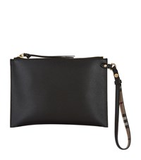 Burberry Grained Leather Pouch Black