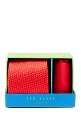 Ted Baker Tonal Silk Tie And Handkerchief Red