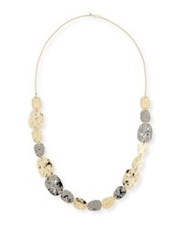 Alexis Bittar Rocky Medallion Station Necklace Yellow Silver