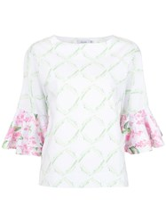 Isolda Printed Jasmine Blouse White