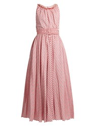 Gul Hurgel Striped Sleeveless Cotton And Linen Blend Dress Red