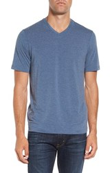 Travis Mathew Men's 'Uncle Bob 2.0' Solid Stretch V Neck T Shirt Heather Dark Denim