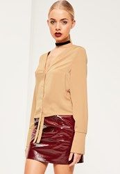 Missguided Nude Placket Button Front Long Sleeved Blouse Camel