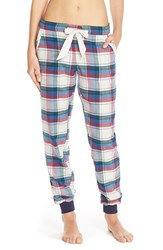 Women's Make Model Flannel Jogger Pants Navy Dusk Holiday Tartan Plaid