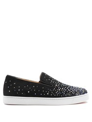 Christian Louboutin Dolcita Crystal Embellished Suede Trainers Black Multi
