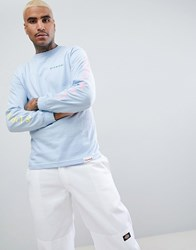 Diamond Supply Co. Long Sleeve T Shirt With Sleeve Print In Light Blue Light Blue