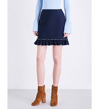 Sandro Flared Hem Woven Mini Skirt Navy Blue
