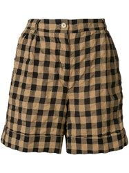 Aspesi Checkered Bermuda Shorts Brown