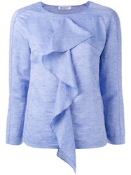 Dondup Draped Ruffle Blouse Blue