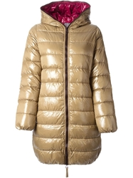 Duvetica Contrasting Zipper And Hoodie Coat Nude And Neutrals