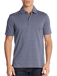 Saks Fifth Avenue Feeder Striped Polo Shirt Patriot Blue