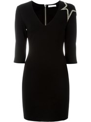 Pierre Balmain Beaded Star Fitted Dress Black