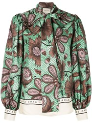 Gucci Pussy Bow Blouse Green