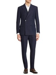 Polo Ralph Lauren Slim Fit Double Breasted Plaid Wool Suit Navy