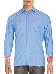 Bertigo Polka Dot Button Front Shirt Blue