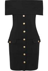 Balmain Pierre Off The Shoulder Stretch Jersey Mini Dress Black