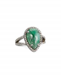 Bavna Emerald And Pave Champagne Diamond Ring Size 7