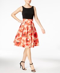 Tommy Hilfiger Floral Print Fit And Flare Dress Black Nude Poppy
