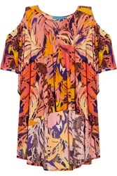 Matthew Williamson Cutout Printed Jersey Tunic Orange