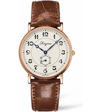 Longines L4.785.8.73.2 Heritage 18Ct Rose Gold And Leather Watch Silver